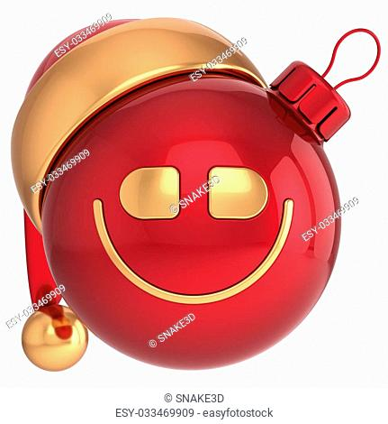 Smiling Christmas ball Happy New Year smile bauble Santa hat smiley face icon decoration red gold. Wintertime emoticon. Merry Xmas cartoon character toy concept