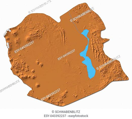 Relief map of Oruro, a province of Bolivia, with shaded relief