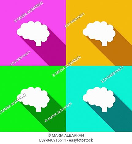 Brain icon with shade on different colors illustration