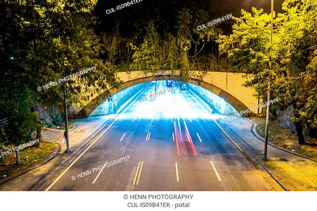 Light trails in tunnel at night, Rio de Janeiro, Brazil