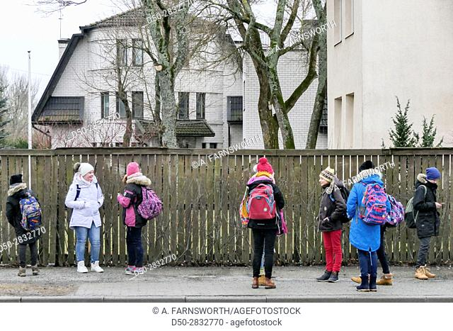 TALLINN, ESTONIA School children returning home after school