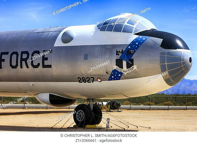 The cockpit and nose of the 1950s Convair B-36 Peacemaker USAF SAC Cold War bomber plane - the largest bomber plane ever built