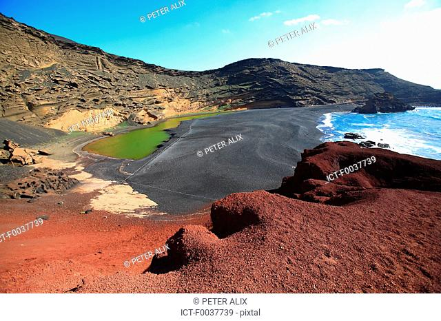 Spain, Canary islands, Lanzarote, El Golfo, green lake