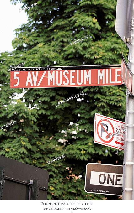 The street signs of Museum Mill on Upper East Side of Manhattan  New York City  USA