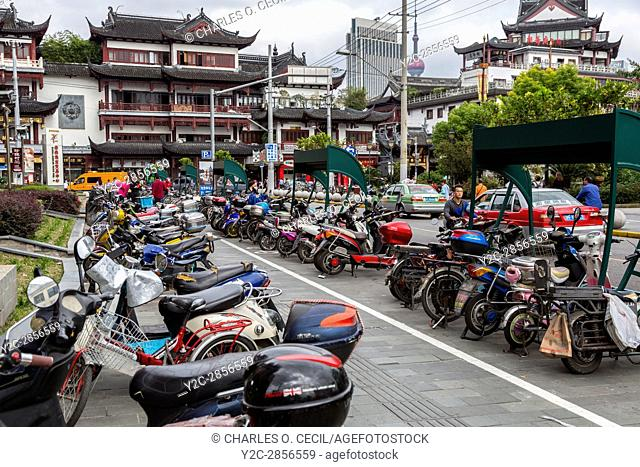 China, Shanghai. Motorbike Parking near Yuyuan Bazaar