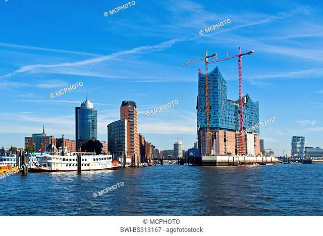 construction of the Elbe Philharmonic in Hamburg harbor, Germany, Hamburg