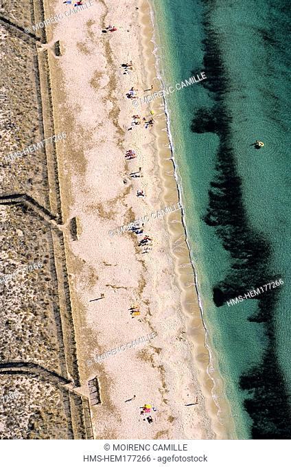 France, Var, Presqu' île de Giens, Plage de l' Almanare aerial view
