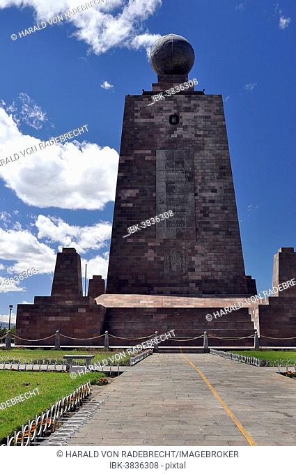 Ciudad Mitad del Mundo, Middle of the World City, monument with a globe and a painted line marking the equator, Quito, Ecuador