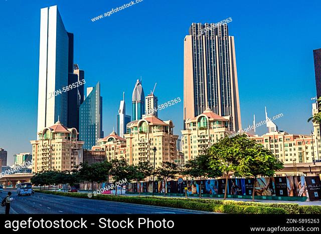 DUBAI, UAE - NOVEMBER 13: Modern skyscrapers in Dubai (emirate and city), UAE. Dubai is the most expensive city in the Middle East