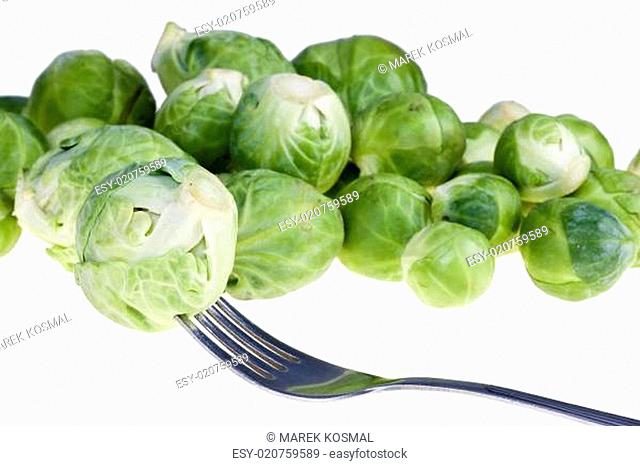Green raw Brussels sprouts