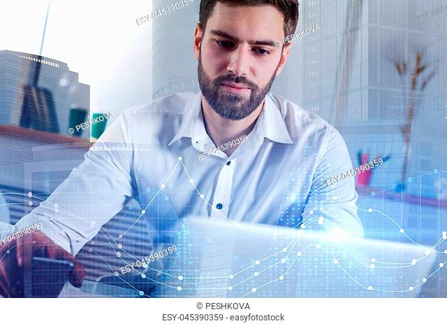 Technology, future, investment and growth concept. Businessman using laptop with glowing forex chart on creative blurry city background