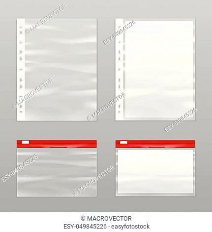 Colored full paper and empty plastic bags icon set realistic and isolated vector illustration