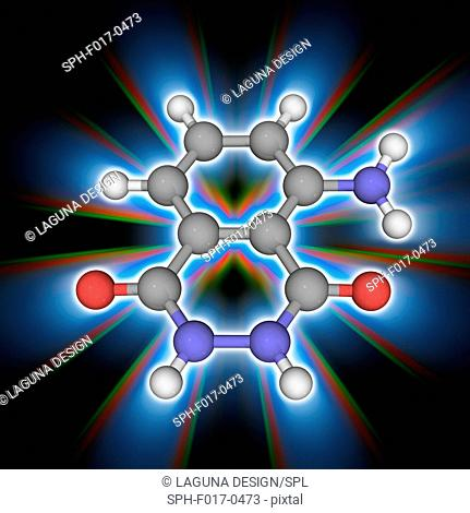Luminol. Molecular model of the aromatic amine luminol (C8.H7.N3.O2). This organic compound shows blue chemiluminescence when mixed with an appropriate...