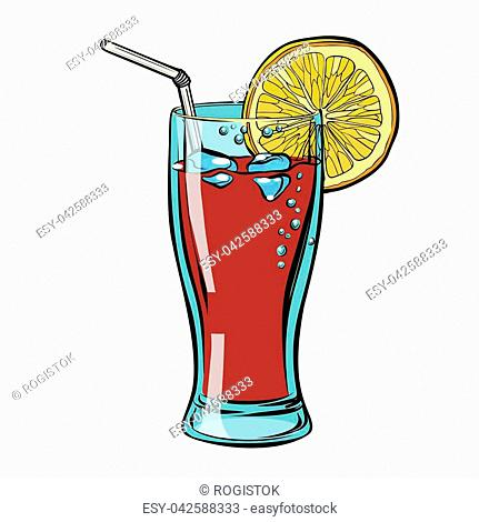 Cola with lemon. isolate on a white background. Comic cartoon pop art retro vector illustration drawing