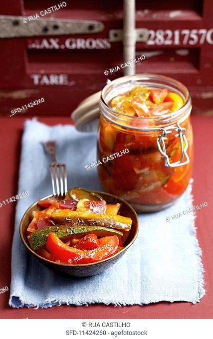 ratatouille preserved in jar