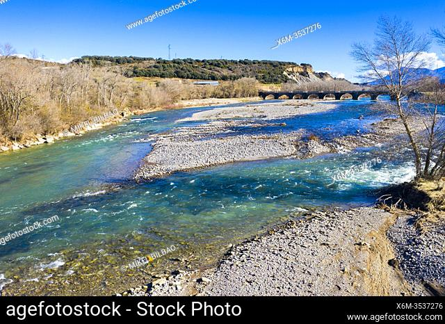 Riverbed and bridge in a natural landscape. Aragon river close to Yesa reservoir. Zaragoza, Aragon, Spain, Europe