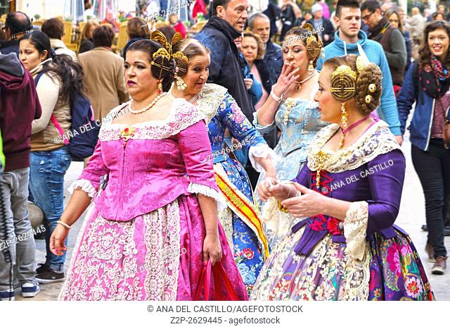 Square of Saint Mary's in Valencia in Spain Tribunal de las Aguas ceremony on March 10, 2016. Falleras in Fallas festival 2016