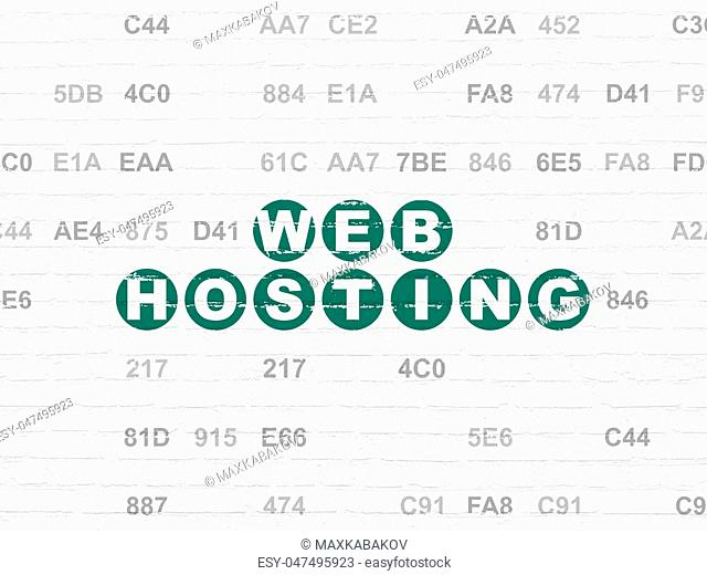 Web design concept: Painted green text Web Hosting on White Brick wall background with Hexadecimal Code