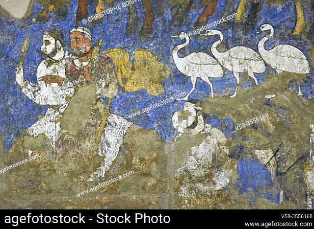 Uzbekistan, Unesco World Heritage Site, Samarkand, Afrasiab museum, Ambassadors painting (7-8th C), Dignitaries carrying sacrificial clubs followed by sacred...
