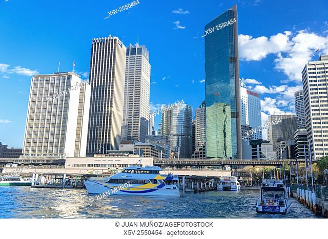Buildings and boats on Sydney Harbour. Australia. Oceania