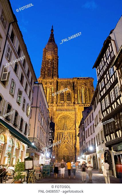 Rue Merciere and Strasbourg Cathedral, Strasbourg, France