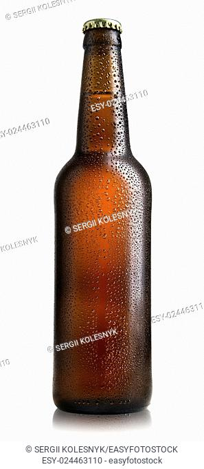 Brown bottle of beer isolated on a white background
