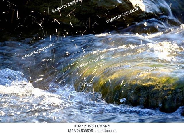 splashing river wave, Isar, Isar floodplains, Geretsried, Upper Bavaria, Bavaria, Germany