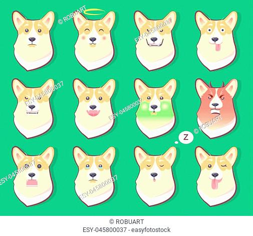 Set of dogs emotions, surprised and puzzled, angry and shocked, happy cute puppy symbol of New year 2018 with different emotions, vector illustrations