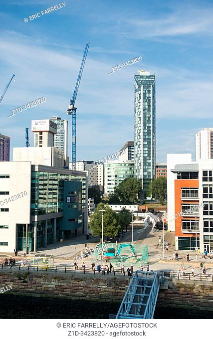 England, Europe, Liverpool, Merseyside, new, modern, buildings, on the waterfront, construction
