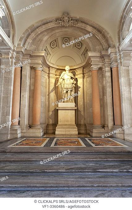 Sculpture of spanish king Charles III dressed in a Roman Toga at the entrance to the Royal Palace (Palacio Real) of Madrid, Madrid, Spain
