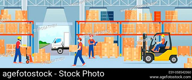 Warehouse interior with cardboard boxes and cargo truck. Staff surrounded by boxes on rack and transport of storehouse interior