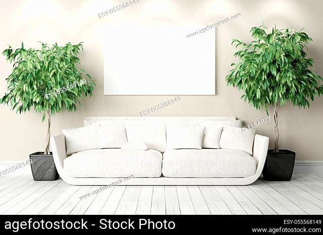 Bright interior in a modern style. 3D render