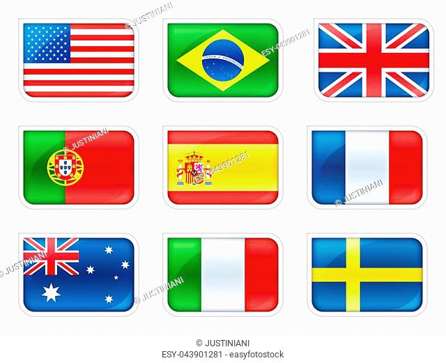 Flags of the main countries of the world