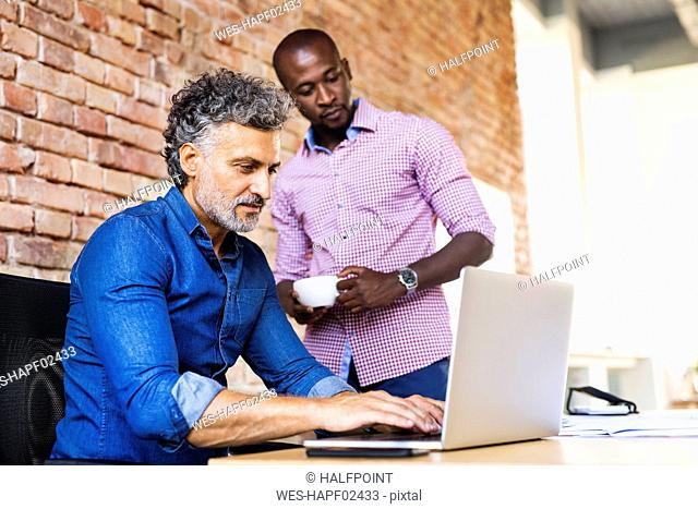 Colleague watching businessman working on laptop in office