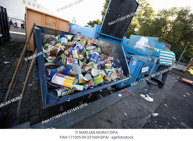 Empty food packaging lying at the recycling depot of the Cannstatt Volksfest in Stuttgart, Germany, 05 October 2017. About four to five tons of garbage are...