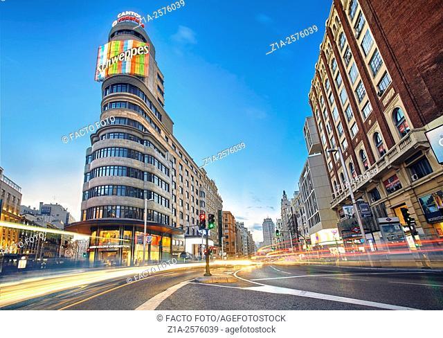 Callao square and Gran Via street at twilight. Madrid, Spain