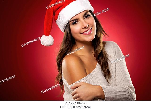 Christmas portrait of gorgeous Mrs. Claus Debica, Poland