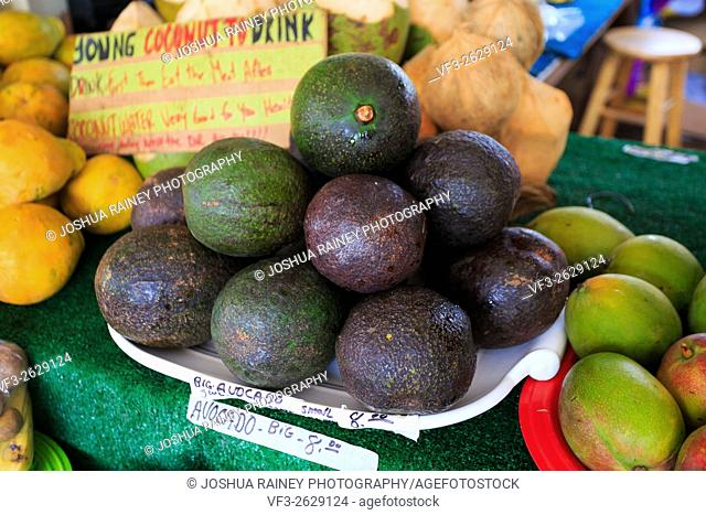 Avocados on a fruit stand at a farmers market in Oahu Hawaii
