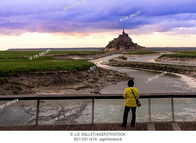 The Mont Saint Michel from the bridge over Couesnon river, Manche, Normandy, France