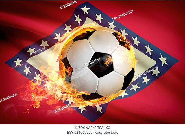 Soccer ball with flag on background series - Arkansas