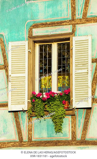 Detail of a window in a typical timber framing house at little venice, Colmar, Alsace, France