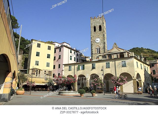 MONTEROSSO AL MARE ITALY-JULY 18, 2015: Typical square at Monterosso al Mare town in famous Cinque Terre on July 2015 in Monterosso Ligurian sea Italy