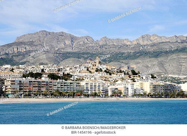 Shore, church, Altea, Costa Blanca, Alicante province, Spain, Europe