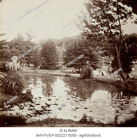 Capture of Rome: military camp in the Gardens of Villa Torlonia, shot 1870 by Tuminello