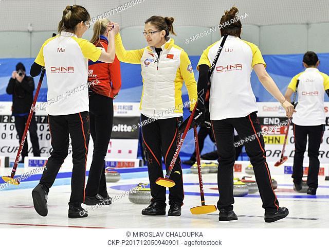L-R Ma Jingyi, Bingyu Wang, Jinli Liu and Yan Zhou of China react during the Olympic qualification tournament match Czech Republic vs China in Pilsen