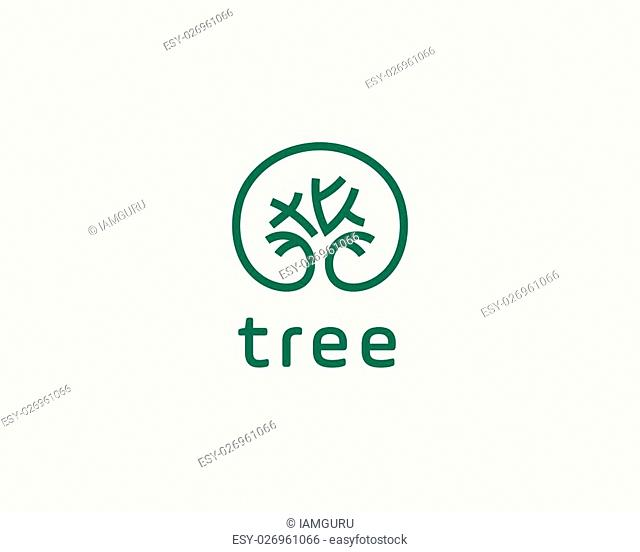 Abstract elegant tree park line logo icon vector design. Universal creative premium solid symbol. Graceful lined vector sign