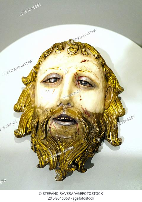 Head of St John the baptist. about 1470-90. England, Midlands. Alabaster with paint and gilding