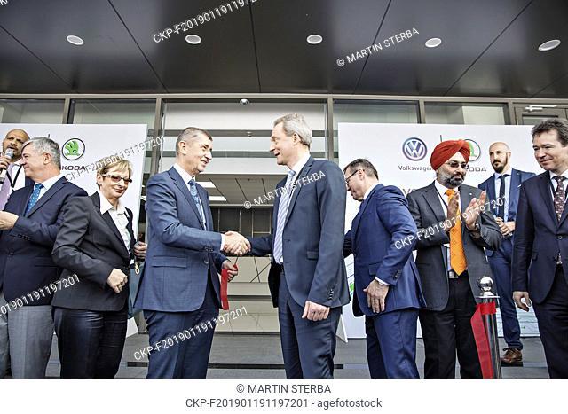 L-R Czech Ambassador to India Milan Hovorka, Czech Industry Minister Marta Novakova, Czech Prime Minister Andrej Babis, Skoda Auto board members Christian...