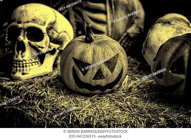 Scary halloween pumpkins, party and celebration detail