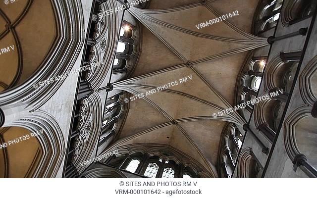 PAN, LA, interior, rotating shot, from directly below, of the rib-vaulted ceiling in one of the transepts. Also shown are the Triforium and Clerestory windows